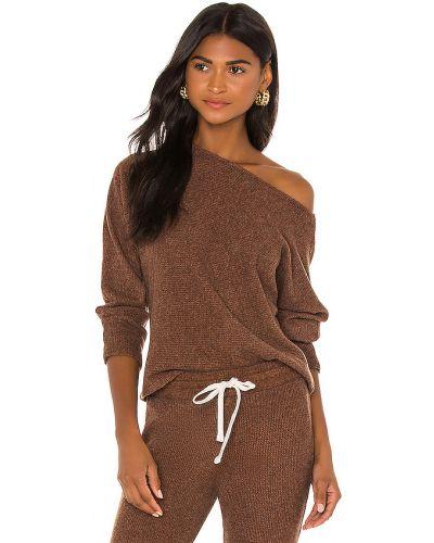 Otwarty włókienniczy brązowy t-shirt Monrow