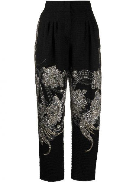 Черные прямые укороченные брюки с вышивкой с карманами Alberta Ferretti