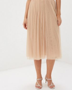 Плиссированная юбка польская бежевый Vera Moni