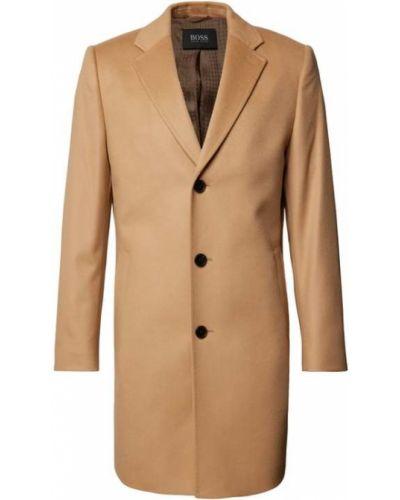 Beżowy płaszcz wełniany Boss