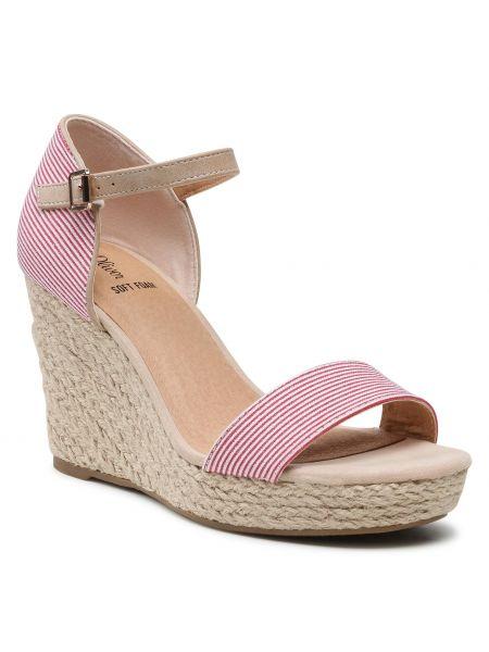 Czerwone sandały w paski S.oliver