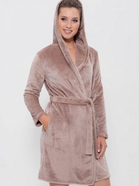 Коричневый флисовый домашний халат Cleo