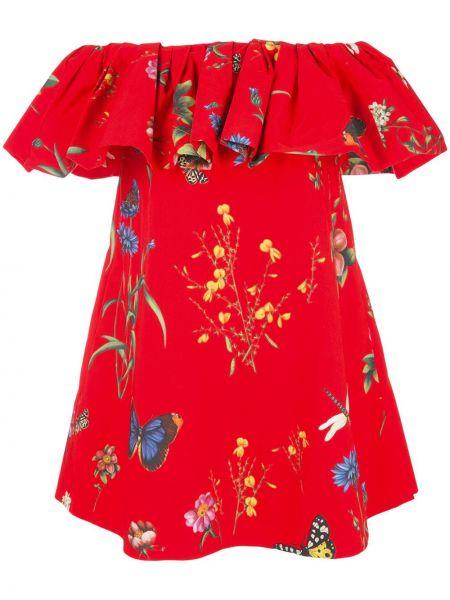 Платье с цветочным принтом в рубчик Oscar De La Renta