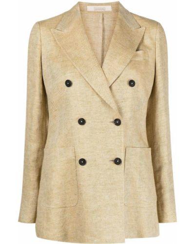 Льняной бежевый удлиненный пиджак двубортный Massimo Alba