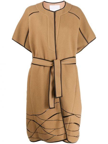 Свободное терракотовое шерстяное укороченное пальто с пайетками Noon By Noor