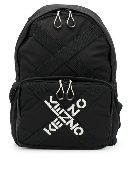 Черный кожаный рюкзак с карманами Kenzo