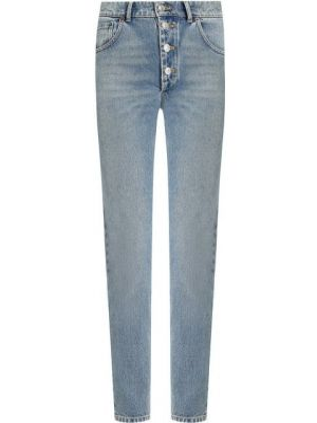Укороченные джинсы синие с эффектом потертости Balenciaga