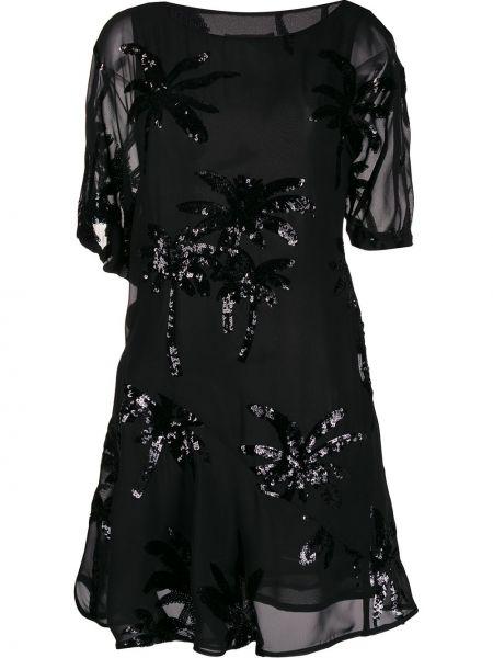 Черное платье мини с вырезом с короткими рукавами круглое Talbot Runhof