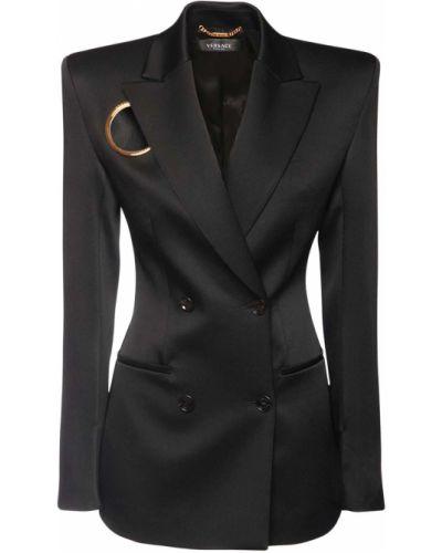 Черная куртка двубортная с карманами Versace