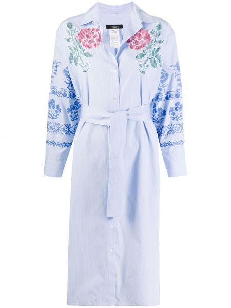 Прямое классическое платье макси с вышивкой с длинными рукавами Weekend Max Mara
