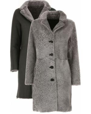 Szary płaszcz skórzany z długimi rękawami S.w.o.r.d
