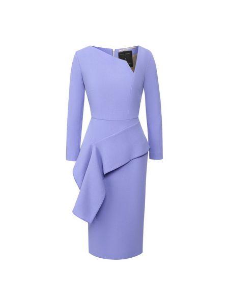 Синее шелковое платье с подкладкой Roland Mouret