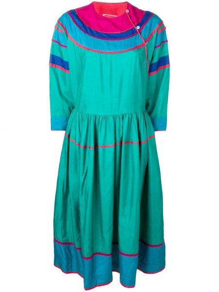 Платье миди винтажное на пуговицах с вырезом эластичное Kenzo Pre-owned