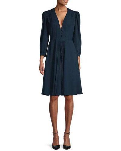 С рукавами шелковое синее платье Prada