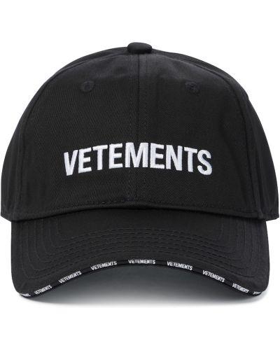 Черная бейсбольная хлопковая бейсболка Vetements