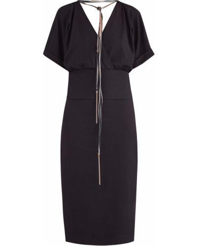 Платье с поясом футляр с V-образным вырезом Brunello Cucinelli