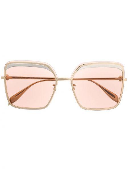 Прямые розовые солнцезащитные очки квадратные Alexander Mcqueen