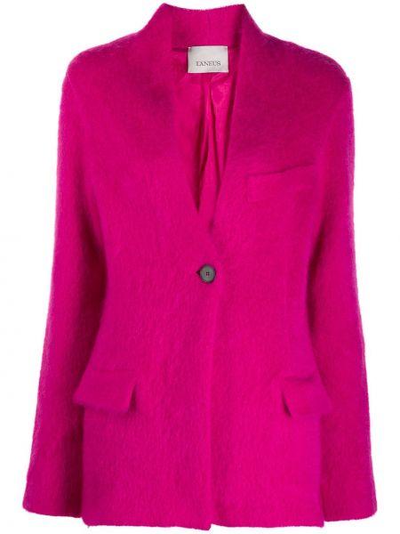 Шерстяной розовый удлиненный пиджак с карманами Laneus
