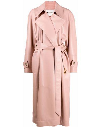 Różowy długi płaszcz skórzany z długimi rękawami Nanushka