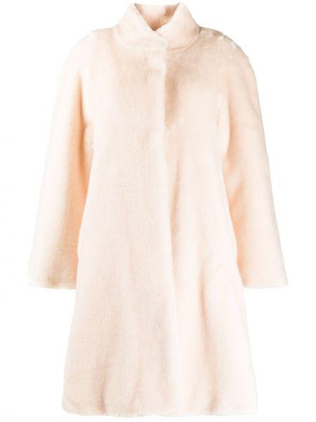 Акриловое розовое пальто с воротником с карманами La Seine & Moi