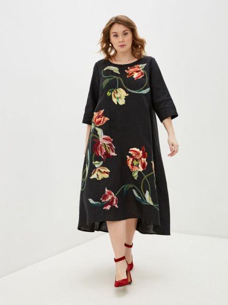 Повседневное платье черное весеннее Yukostyle
