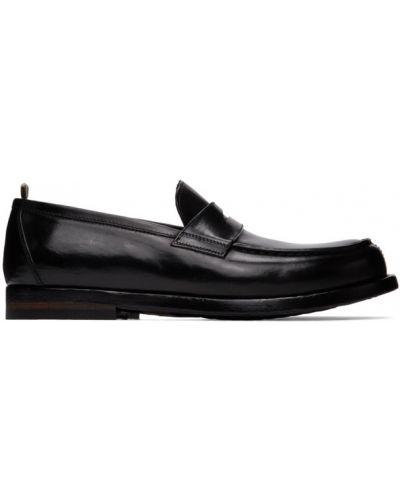 Czarny loafers z prawdziwej skóry na pięcie okrągły Officine Creative