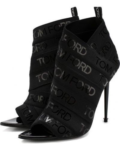 Кожаные ботильоны черные текстильные Tom Ford