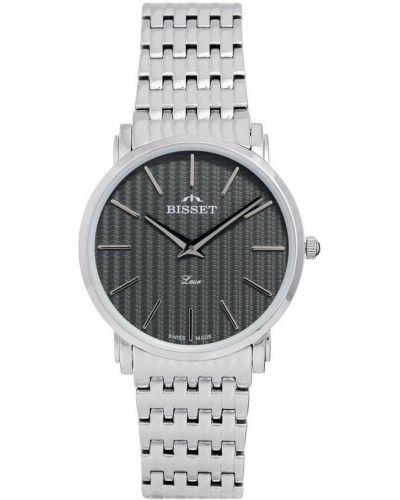 Klasyczny czarny szwajcarski zegarek srebrny Bisset