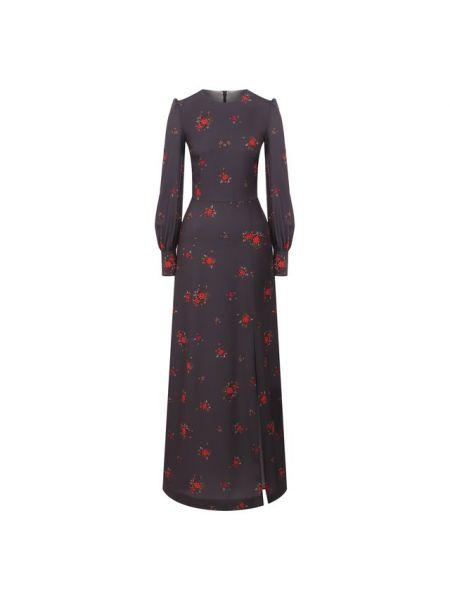 Мягкое шелковое серое платье макси на каблуке A La Russe
