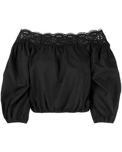Черная блузка с открытыми плечами с вышивкой P.a.r.o.s.h.