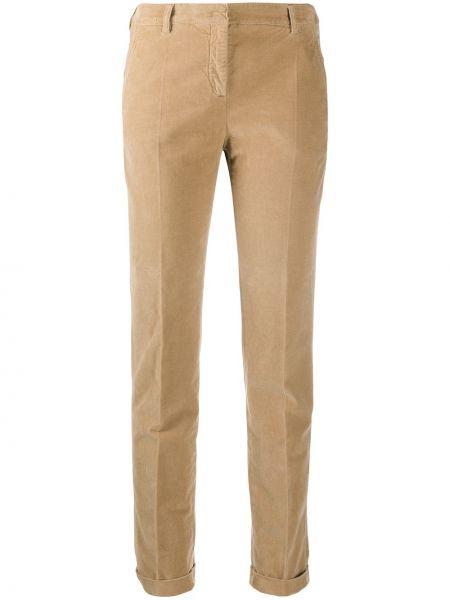 Хлопковые коричневые брюки дудочки с карманами Incotex
