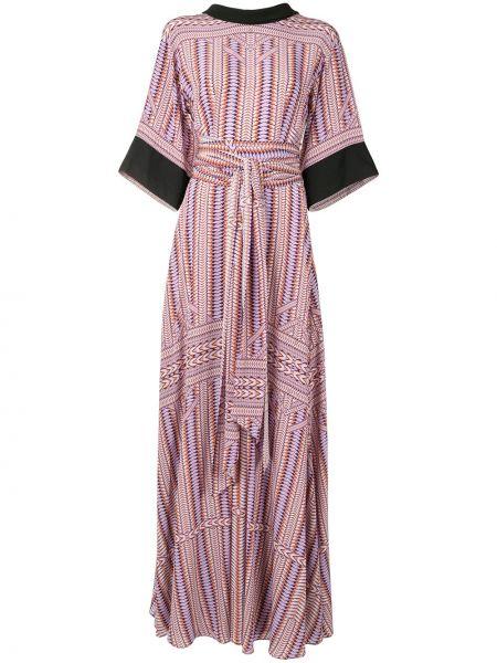 С рукавами фиолетовое шелковое платье макси Amanda Wakeley