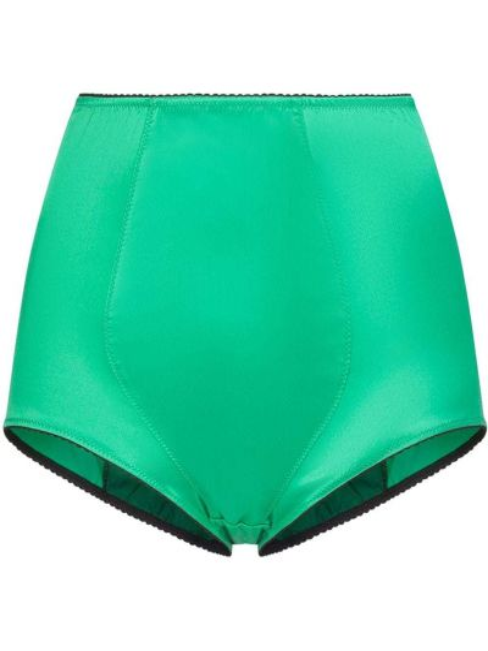 Jedwab zielony majtki w pasie wysoki wzrost Dolce And Gabbana