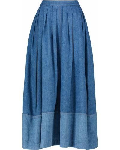 Ciepła niebieska spódnica maxi bawełniana Chloã©