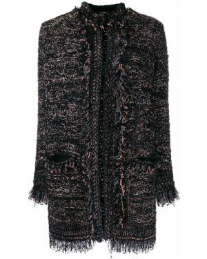 Черное длинное пальто металлическое с бахромой M Missoni
