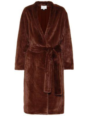 Пальто плюшевое с поясом Vince.