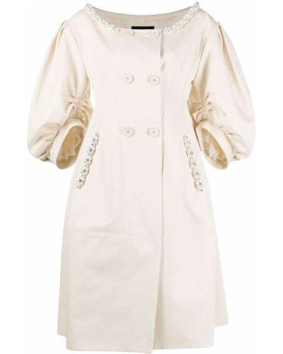 Beżowy płaszcz bawełniany perły Simone Rocha