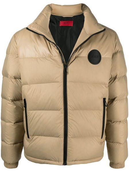 Z rękawami brązowy długa kurtka z kieszeniami Boss