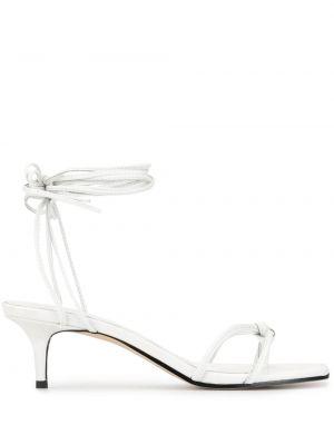 Белые открытые босоножки на каблуке на шнуровке Mara & Mine