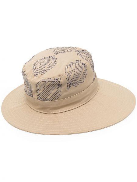 Beżowy kapelusz skórzany z haftem Chloe