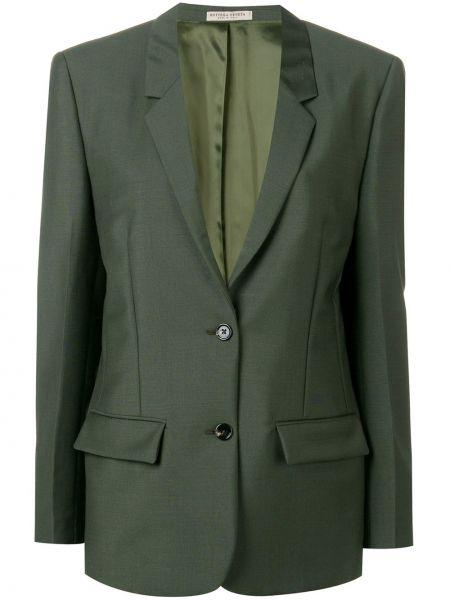Зеленый однобортный пиджак с карманами Bottega Veneta
