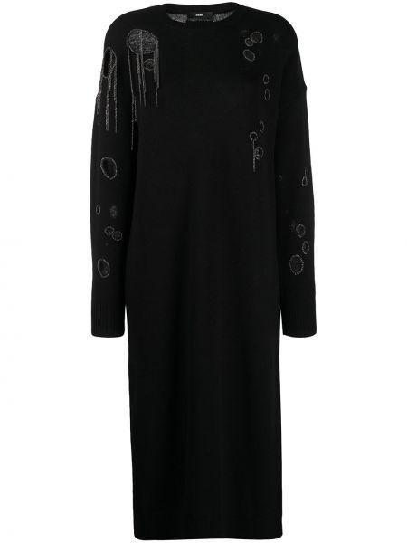 С рукавами шерстяное черное платье макси Diesel