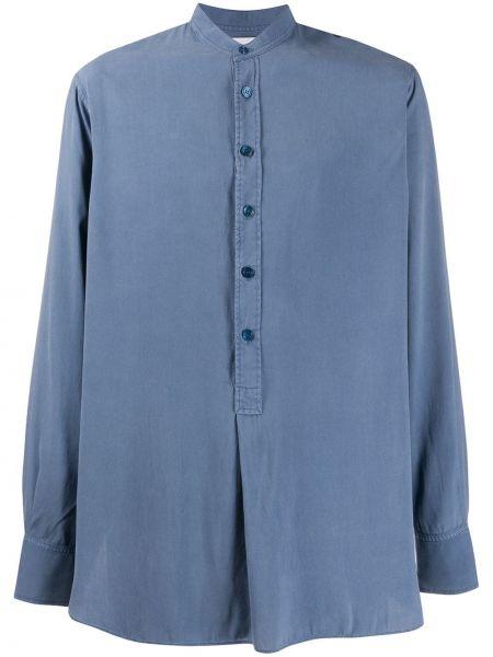 Niebieska koszula z długimi rękawami z jedwabiu Rochas