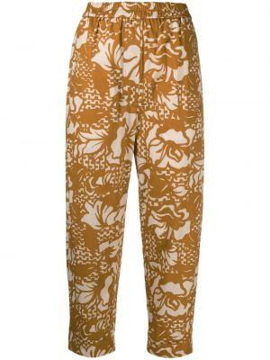 Хлопковые коричневые укороченные брюки с поясом Tela