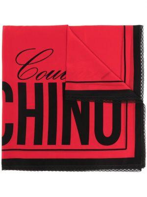 Кружевной красный шелковый платок Moschino