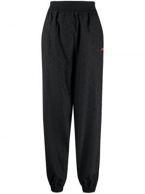 Шерстяные черные спортивные брюки с поясом с манжетами Marcelo Burlon. County Of Milan