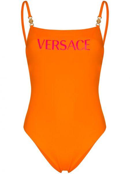 Оранжевый купальник на бретелях с вырезом квадратный Versace