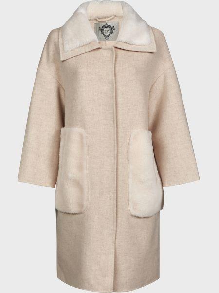 Бежевое шерстяное пальто на кнопках Diego M
