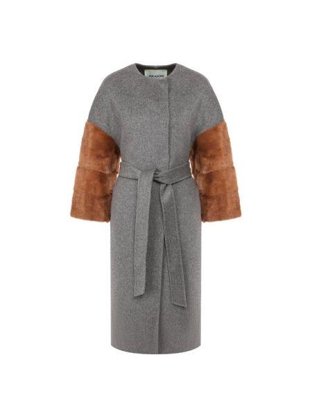 Шерстяное серое пальто с воротником с поясом Ava Adore