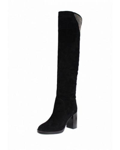 Ботфорты на каблуке замшевые черные Blizzarini